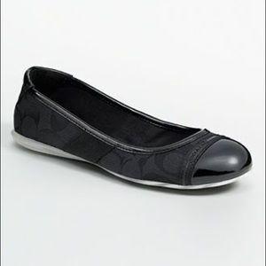 Coach Carie Flat Black Ballet Dressy Work Shoe 8.5
